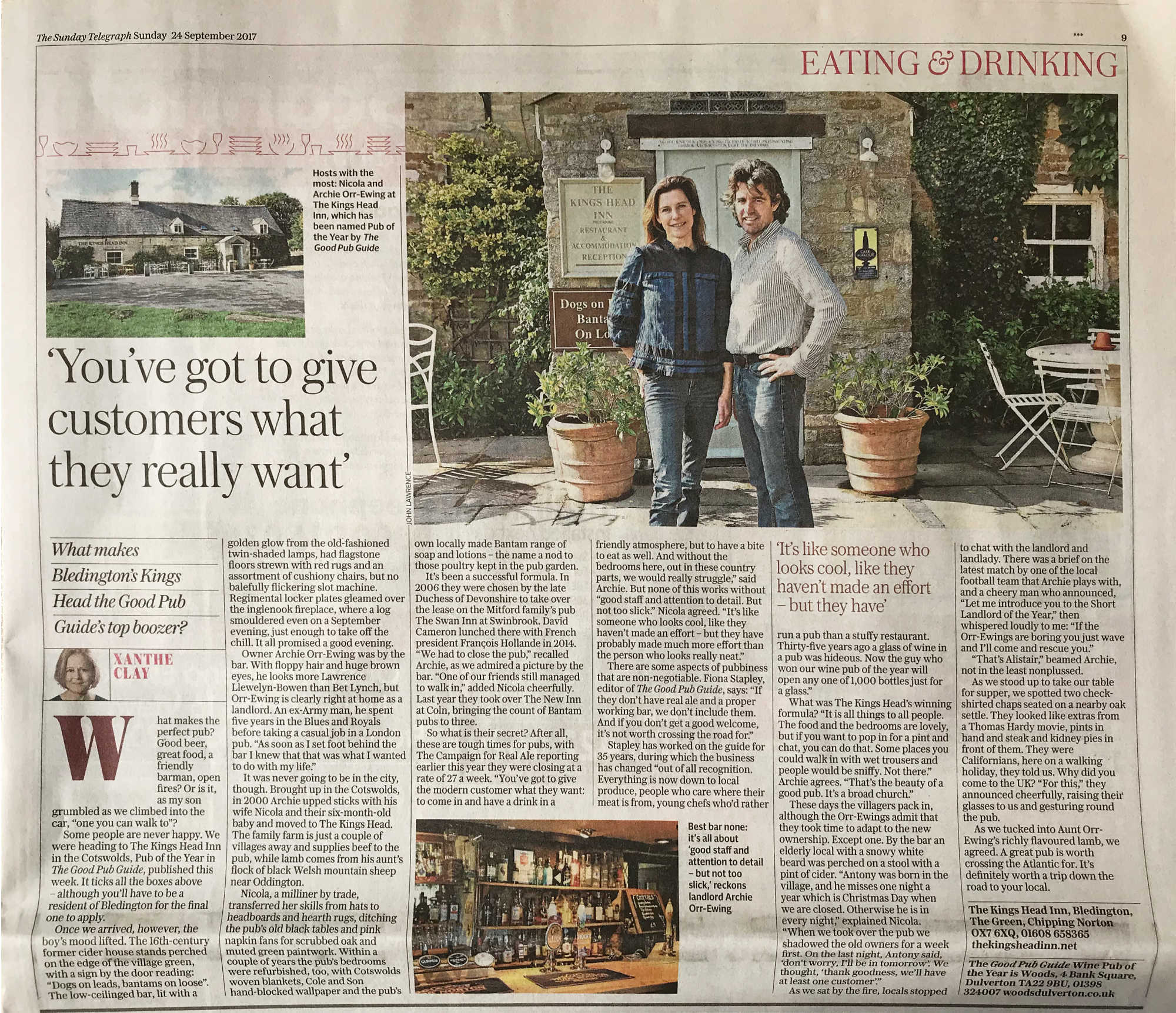 Bledingtons The King's Head Inn - Best Boozer - Sunday Telegraph